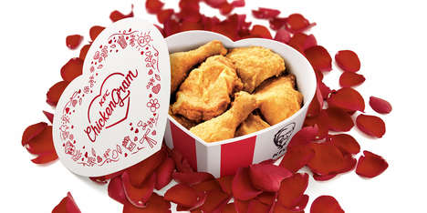 Heart-Shaped Chicken Containers - For Valentine's Day, Poetic KFC Chicken Buckets Can Be Shared