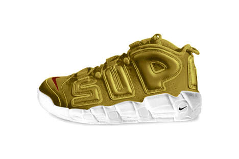 Gilded Bubble Letter Sneakers - This Gold Nike and Supreme Model Has a Unique Futuristic Look