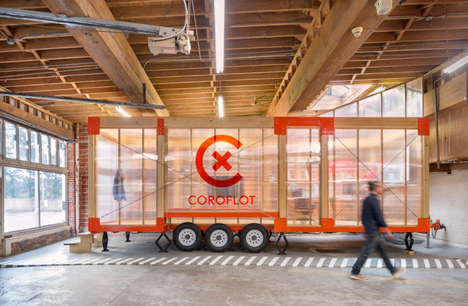 Modular Mobile Offices - Coroflot's Mobile Office Space is Built on a Trailer with Translucent Walls