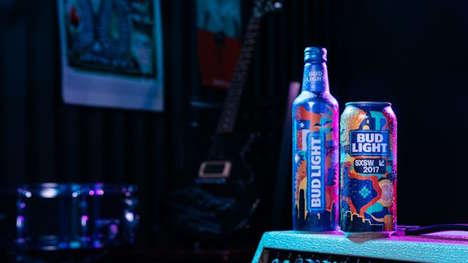 Festival-Commemorating Beer Art - Bud Light's Sxsw Branding Offers a Diversion for the Brand