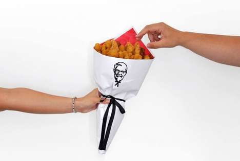 Fried Chicken Bouquets - KFC New Zealand Handed Out 20 Bouquets for Valentine's Day