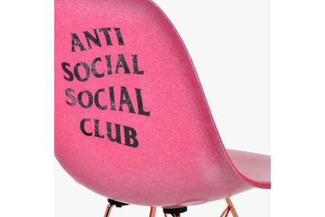 Retro Streetwear-Branded Seating - Anti Social Social Club Created Unique Pink Chairs with Modernica
