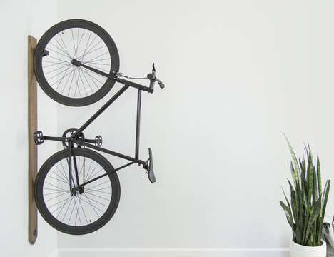 Vertical Display Bike Racks - The Artifox Black Walnut Vertical Bike Rack Puts a Ride on Display