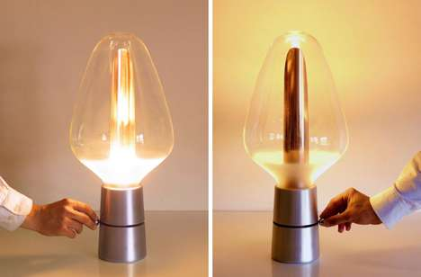 Twisting Illumination Lamps - The 'Lyrea' Glowing Lamp Directs Light in Different Directions