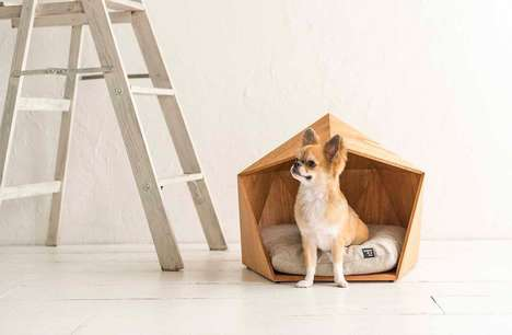 Angular Geometric Pet Houses - The Kamakura Wooden Pet House is a Cozy Spot for Small Dogs and Cats