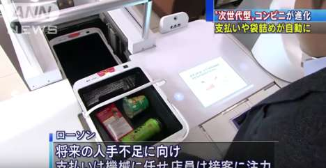 Autonomous Cashier Stations - Panasonic's Checkout Robot Automatically Scans and Bags Items