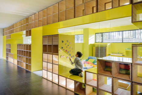 Integrated Wall Nooks - Rica Studio's Language School Design Features Embedded Furniture Spaces