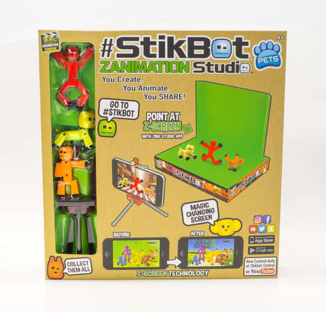 Amateur Animation Toys - The Stickbot Zanimation Studio Includes a Green Screen for Movie-Making