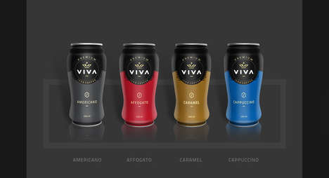 Premium Iced Coffee Packaging - VIVA Iced Coffee is Offered in Classic Hot Drink Flavors
