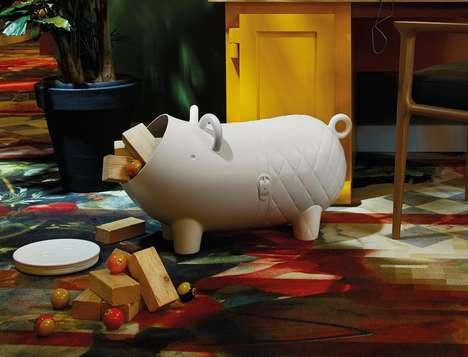 Toy Swine Storage Statues - The 'Hausschwein' Toy Storage Unit is Modern, Ridable and Fun