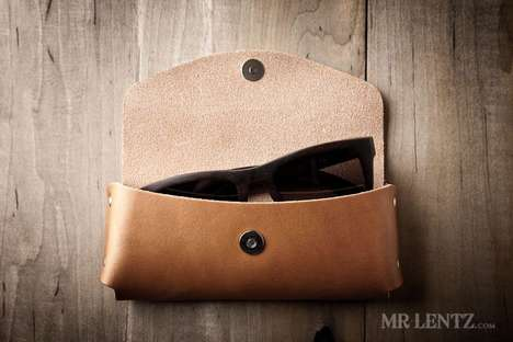 Premium Leather Sunglasses Protectors - The Mr. Lentz Leather Sunglasses Case Has a Magnetic Closure