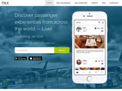 Real-Time Travel Experience Apps - 'PAX' Lets Users Share Their Passenger Experiences Live