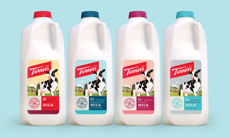 Heritage-Honoring Dairy Branding - Turner's Dairy Farms Branding Maintains a Modern Yet Retro Design