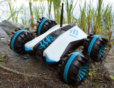 Multi-Terrain Drone Toys - The Rover Land and Sea Amphibious RC Car is Ruggedly Designed
