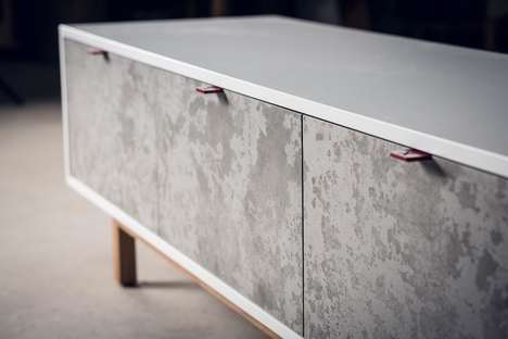 Solid Concrete Credenzas - Alon Dodo's Furnishing is Made Using an Ancient Inlay Technique