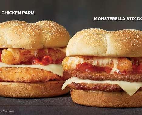 Mozzarella Stick-Topped Burgers