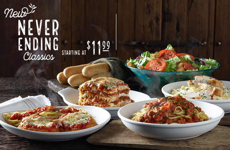 Bottomless Italian Entrees - Olive Garden's New Never Ending Classics Cater to Hungry Customers