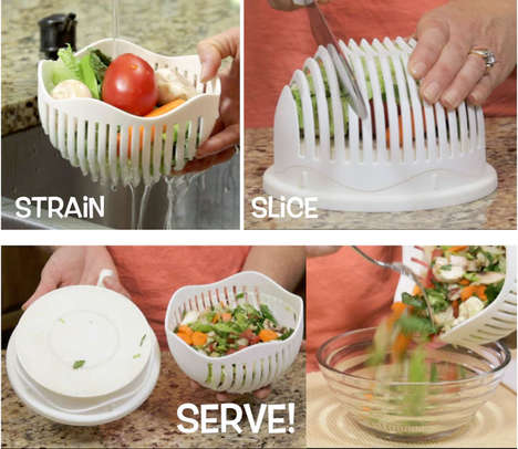 Quick Kitchen Salad Preparers - The '60 Second Salad Maker' Washes and Chops Items in One Unit