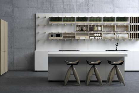Modular Storage Kitchens - The 'SOUL' Kitchen Layout Offers Adjustable Space for Storage