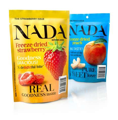 Magazine-Style Fruit Pouches - These Freeze-Dried Fruit Snack Packages Resemble Print Publications