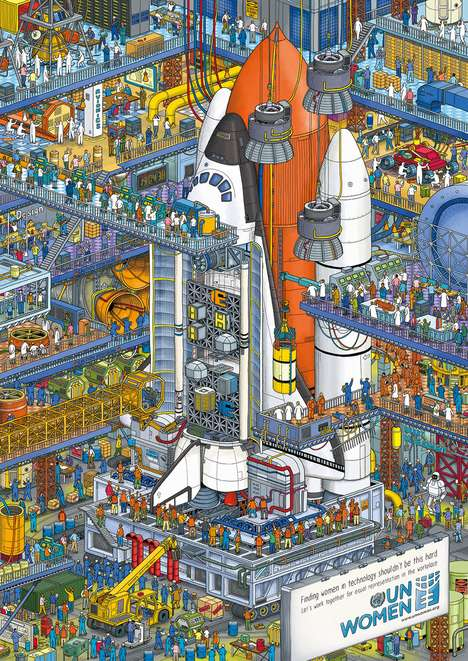 Parodical Gender Equality Illustrations - IC4Design's 'Finding Her' is a Critique via Where's Waldo?