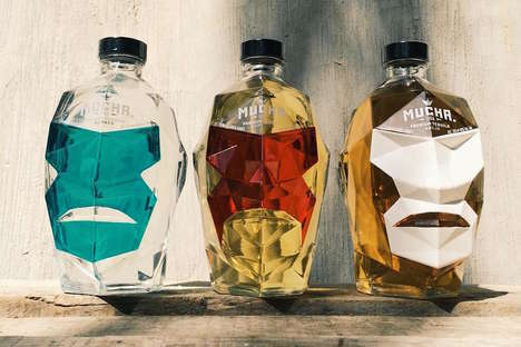 Wrestler-Shaped Tequila Bottles - Mucha Liga's Packaging Resembles the Head of a Masked Luchador