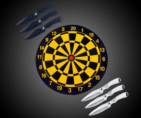 Wall-Mounted Throwing Knife Games - This Throwing Knife Board is a More Daring Alternative to Darts
