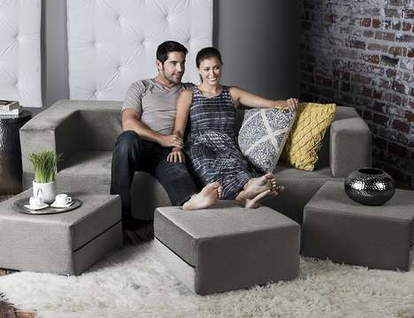 Interchangeable Orientation Sofas - The Jaxx Zipline Convertible Sofa Bed is Great for Small Spaces