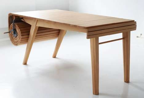 Beech Wood Extension Tables - The 'Roll-Out' Extending Table by Marcus Voraa is Contemporary