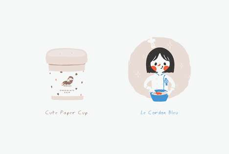 Cartoon Cookie Mascots - MILKMORE's Brand Identity Boasts Adorable Character Illustrations
