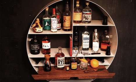 Mixologist Wall Bars - The Sean Woolsey Studio Libation Station Stores Bottles and Bar Equipment