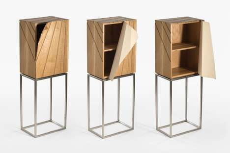 Peeling Door Cabinet Furniture - The 'Peel Cabinet' Unwraps to Reveal the Interior Storage Space
