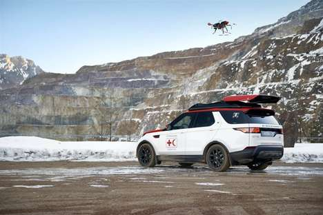 Emergency Drone-Accompanied Cars - The Land Rover Discovery Project Hero is for Search and Rescue
