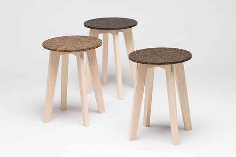 Organic Ocean Waste Stools - The 'Zostera' Sitting Stool is Made from Eelgrass and Bio-Resin