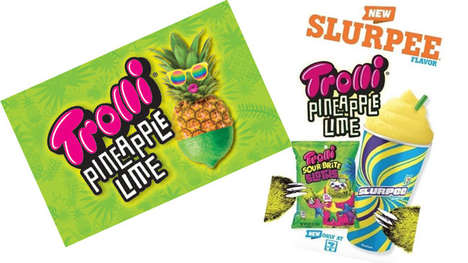 Sour Candy Slush Drinks - The 7-Eleven Trolli Pineapple Lime Slurpee Celebrates the Candy