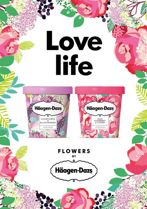 Frozen Wildflower Desserts - Häagen-Dazs' Floral-Inspired Treats Boast Bold Containers to Match