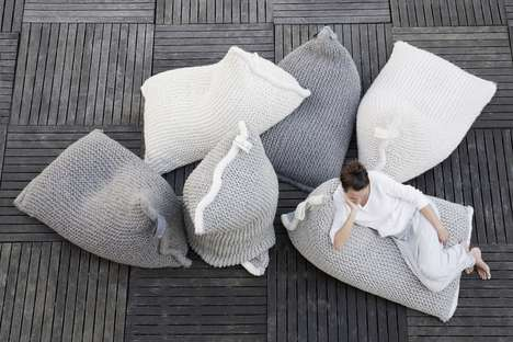Relaxed Woollen Bag Seats - The Zilalila Nest Knitted Bean Bag Seat is Hand-Knit in Nepal