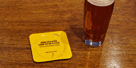 Upcycled Car Coasters - These Arrive Alive Bar Coasters are Made from Wrecked Cars