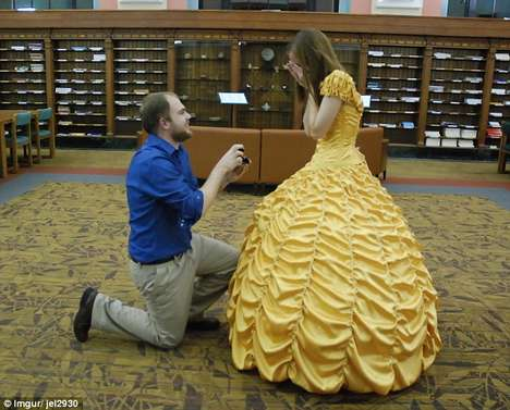 Sentimental Disney Proposals - This Beauty and the Beast Proposal Took Place at a Rustic Library