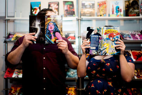 Comic Fan Engagement Portraits - Megan Moura Captures This Comic Book Store Engagement Series