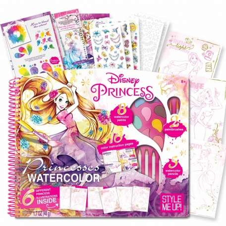 Princess Watercolor Books - Style Me Up's Activity Books Include Pencils, Paints and Stickers