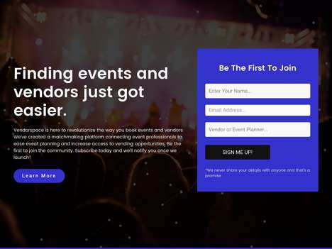Social Event Planning Platforms - The 'vendorspace' Matchmaking Platform Connects Professionals