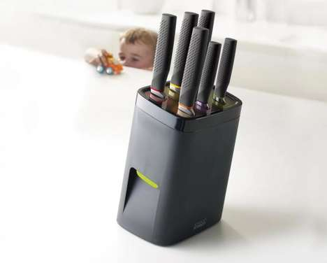Child-Proof Knife Blocks - The Joseph Joseph 'LockBlock' Kitchen Knife Block Deters Access for Kids