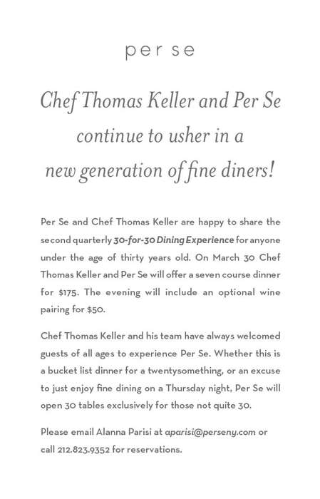 Millennial Dining Discounts - Thomas Keller's 30-for-30 Makes Fine Dining Accessible to Gen Y