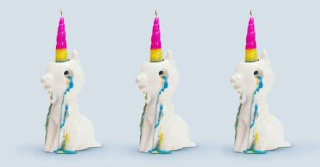 Crying Unicorn Candles - This Mystical Candle's Wax Flows Out in Rainbow-Hued Tears