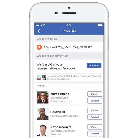 Lawmaker-Finding Social Media Services - Facebook Town Hall Makes Contacting Elected Officials Easy
