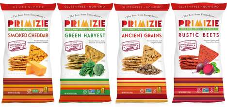 Earthy Snack Chip Lines - The Primizie's Organic Sprouted Grains Crispbreads are Nutrient-Rich