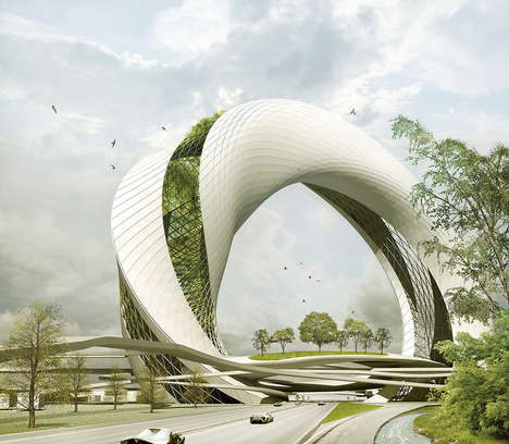 Garden Highway Structures - The 'Green Circle' Balances the Offset of Highway Roads in Urban Areas