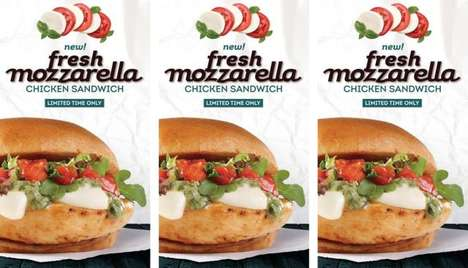 Artisanal Fast Food Items - The Wendy's Fresh Mozzarella Chicken Sandwich and Salad are Unexpected