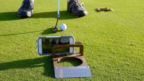 Wooden Golfer Camera Holders - The Puttskee 'PuttCAM' Smartphone Mounts Record Golf Games
